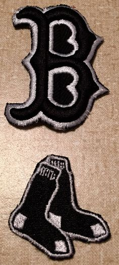 Lot of 2 Black and White Boston Red Sox Patches by CoryCranksOutHats on Etsy