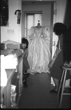 "Princess Dianas wedding gown creator, Elizabeth Emmanuel, just shared this never-before-seen photo of the gown on twitter with the caption ""Wonderful memories of the beautiful Diana on the anniversary of her wedding today"" The photo shows the gown in the designers private shop during its creation"