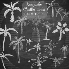 Chalk Palm Trees by Kaazuclip on Creative Market