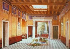 Artistic re-creation of an impluvium of a Roman house