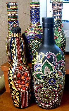 Set of # bottles # dot # main # club, # club # and # forum # for communication # – # sperm whale glass bottle crafts Painted Glass Bottles, Glass Bottle Crafts, Wine Bottle Art, Decorated Bottles, Bottle Vase, Dot Art Painting, Mandala Painting, Mandala Art, Recycled Wine Bottles