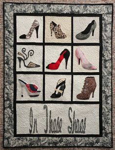 In These Shoes---Free BOM Panel Quilts, Lap Quilts, Small Quilts, Mini Quilts, Quilt Blocks, Colorful Quilts, Applique Patterns, Applique Quilts, Applique Designs