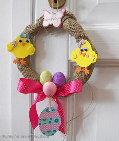 corona di pasqua con forme in gomma crepla - easter wreath tutorial with foamies