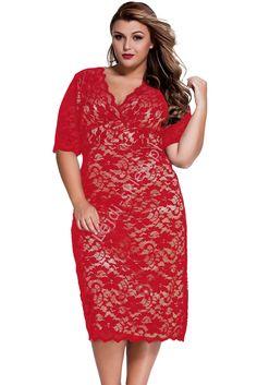 Koronkowa sukienka Plus size ze złotą podszewką | sukienki koronkowe duże…