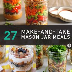 Mason jars make it easy to eat portion-control meals on the go—some of these recipes don't need any cooking at all! Plus, hello food porn! Who knew salads looked even more appetizing stacked?