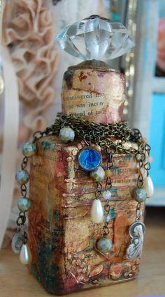 Bottle Art, by Cristina Zinnia Galliher Wine Bottle Art, Glass Bottle Crafts, Potion Bottle, Bottle Vase, Altered Bottles, Vintage Bottles, Bottles And Jars, Glass Bottles, Jar Art
