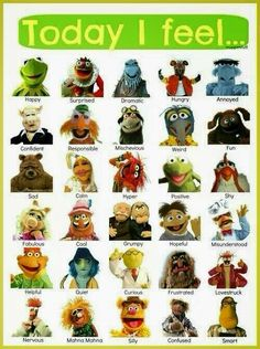 If I were asked to point out how I feel today, I couldn't help but smile! Thanks Muppets! Bit Nerds shares the best funny pics. Feelings Chart, Feelings And Emotions, Jim Henson, Die Muppets, Fraggle Rock, The Muppet Show, Social Emotional Learning, Social Skills, Social Work