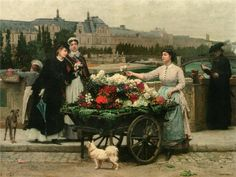 A Flower Seller on the Pont Royal with the Louvre beyond, Paris -  Marie-Francois Firmin-Girard
