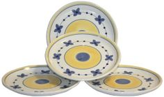 Caleca Marina 4 piece dinner plate set, service for 4 by Caleca. $43.18. Marina, a butterfly-type designed pattern on an illuminous white background that accentuates a legendary garland of blue butterfly-type flowers revived from a brushed yellow sun, simplicity and elegance of a decor never fading out of style. Dishwasher safe; microwavable. All natural majolica/ceramic components individually hand-painted with non-toxic glazes and colors. Chip-resistant. Includes four ...
