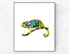 Chameleon Print Tropical Art Animals Print Chameleon Poster Low Poly Wall Decor Geometry Wall Decor Tropical Poster Geometric Animals Print This is an Instant Digital Download BUT YOU CAN ORDER PRINTING AND DELIVERY BY POSTAL SERVICE IN THE LISTING -