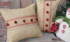 Christmas Burlap Pillows Set