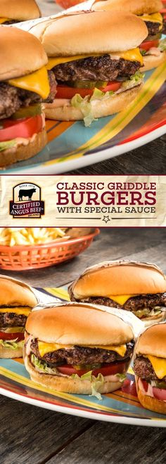 Certified Angus Beef®️️️️️️️️ brand Classic Griddle Burgers with Special Sauce bring classic burgers to the next level. This delicious burger recipe uses the best ground chuck and a special sauce that packs a flavorful PUNCH! Cook in beef or bacon fat to Best Beef Recipes, Roast Recipes, Dog Recipes, Wrap Recipes, Burger Recipes, Cooking Recipes, Best Burger Recipe, My Burger, Beef Burgers