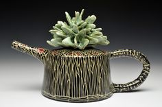 Marcy Neiditz - Teapot - Sgrafitto - cone 5/6 Cactus Pot, Ceramic Artists, Teapots, Surface Design, Clay, Sculpture, Mugs, Tableware, Sculpting