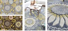 """THIS IS THE ONE! Rug by Amy Butler - perfect for the living room redecorating (first on my list when budget allows). This would be the inspiration for colors - greys with pops of yellow and blue. Yum. Only thing I don't love is the price tag. Largest rug is 7'9"""" x 10'6"""" for $1819"""