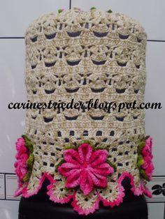 Carine Strieder e seus Crochês: Capa para Galão d'Água em Crochê Crochet World, Crochet Diy, Easter Crochet, Crochet Home, Crochet Crafts, Crochet Doilies, Crochet Flowers, Crochet Circles, Crochet Borders