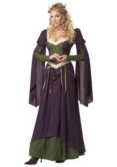 100% polyester interlock knit fabric Purple dress has olive green underskirt, under-sleeves & bodice inset Overskirt can be kilted up by tying gold satin ribbons Upper sleeves are puffed, and flowing drapes cover under-sleeves Neckline & waistline are edged w/ gold & cream brocade ribbon