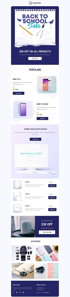 Customize this email design template with your content and send it to your mailing list for free! BEE is the easiest and quickest way to design elegant, mobile responsive emails, starting from scratch or from our 300+ ready-to-use templates.Try our BEE editor for free at the link above. (No signup required) #emaildesign #emailtemplate #backtoschool  Designed by Navid Nosrati Professional Email Templates, Html Email Templates, Email Template Design, Email Design, Page Template, Responsive Email, Mobile Responsive, Bee Free, Sale Emails