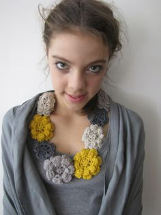 Items similar to Crocheted Rose Necklace - Irish rose crochet- bohemian necklace- mustard, beige and grey - Custom order on Etsy Chunky Crochet, Love Crochet, Crochet Gifts, Irish Crochet, Knit Crochet, Crochet Puff Flower, Crochet Flower Patterns, Crochet Flowers, Rose Necklace