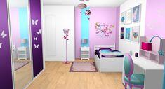 chambre-fille-violet-mauve-turquoise-papillons-bandes-peinture-1.jpg (1711×924)