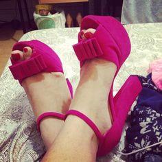 pink suede block heel sandals