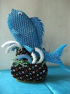 3D Origami - Fish in the Fountain | PaperCraftCentral.net