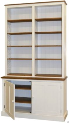 """Solid Pine Dresser, 7ft 6"""" Tall Handcrafted & White Painted Display Bookcase…"""