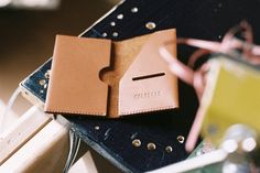 Leather card holder.