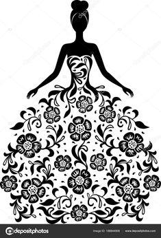Menina de vestido e com a silhueta de ornamento floral — Ilustração de Stock Illustration Girl, Young Women, Ornament, Daughter, Senior Girls