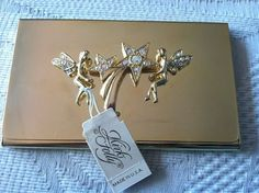 Kirks folly gold business card case with fairies and rhinestones nib