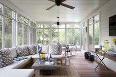 traditional porch by Tim Cuppett Architects - screened in porch furniture placement