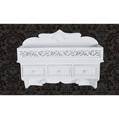 31 + 8 Étagère murale en bois avec 3 tiroirs blanche portemanteau armoire: Amazon.fr: Cuisine & Maison