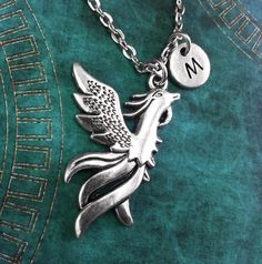 Phoenix Necklace, Personalized Necklace, Phoenix Pendant, Custom Necklace, Fantasy Necklace, Monogram Necklace, Phoenix Charm Necklace