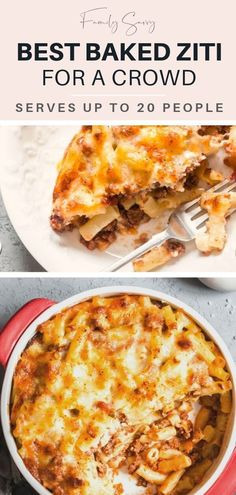 Guests will RAVE over this cheesy and delicious baked ziti that will feed up to 20 people and is make ahead, freezer friendly, and SO easy to make. Pasta Dishes, Food Dishes, Main Dishes, Beef Dishes, Pasta Recipes, Dinner Recipes, Yummy Recipes, Quiche Recipes, Holiday Recipes