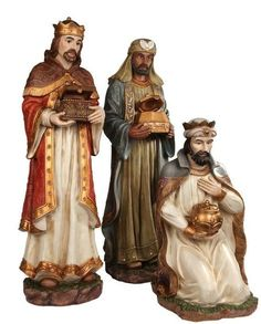 This Three Kings Set is hand painted in multi colors and casted in high quality resin. Ceramic Nativity Set, Christmas Nativity Set, Vintage Christmas, Fall Arts And Crafts, We Three Kings, Three Wise Men, Wood Carving, Different Types Of Wood, Hand Painted
