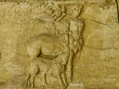 Roman frieze depicting centaurs, recovered from the Roman theater at Orange, France, 2nd century CE.  The theater is situated in the Rhone Valley, and is one of the best preserved of all the great Roman theaters.    Photo courtesy and taken by Mary Harrsch.