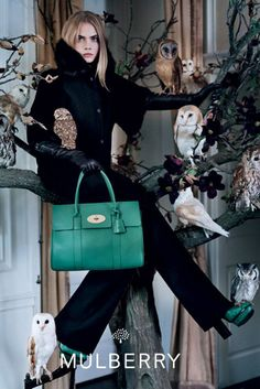Cara Delevingne surrounded by owls for Mulberry FW 2013 14 by Tim Walker l #womenswear #owls #mulberry #f2013 #timwalker #caradelevingne #fashionphotography #adcampaign