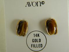 2 Pairs Vintage Avon Earrings in Original Boxes 14k Gold Post Love
