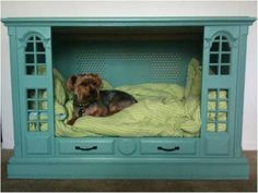 pet bed made from old console TV