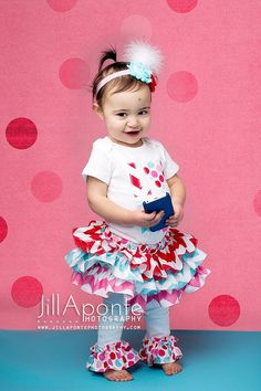 SHORT SLEEVE baby or toddler Valentine chevron polka dot love heart shirt ruffle all around bloomer skirt w/shabby roset