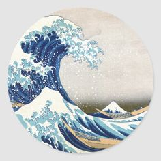 Shop 北斎 Great Wave Off Kanagawa Hokusai Fine Art Classic Round Sticker created by hokusai_great_wave. Japanese Wave Tattoos, Japanese Waves, Japanese Wave Painting, Japanese Prints, Wave Drawing, Wave Tattoo Design, Tattoo Designs, Wave Design, Vinyl Record Art