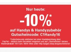 Ebay: Zehn Prozent Rabatt auf Handys und Zubehör für einen Tag https://www.discountfan.de/artikel/tablets_und_handys/ebay-zehn-prozent-rabatt-auf-handys-und-zubehoer-fuer-einen-tag.php Für einen Tag lockt bei Ebay ein Handy-Rabatt von zehn Prozent aufs gesamte Sortiment – anwendbar ist der Gutschein auch auf Handy-Zubehör. Unter den Wow-Angeboten finden sich zahlreiche Schnäppchen. Ebay: Zehn Prozent Rabatt auf Handys und Zubehör für einen Tag (Bild: Ebay.de) U