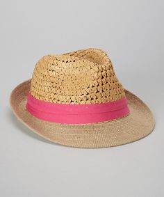 Take+a+look+at+the+Steve+Madden+Tan+&+Fuschia+Two-Weave+Fedora+on+#zulily+today!