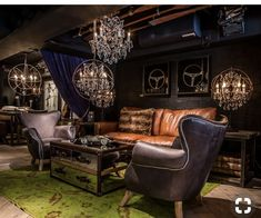 A masculine lounge for your man but I would change the light fixture to more of a bass fixtures not chandeliers.