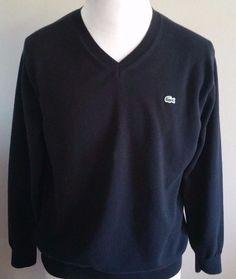 Men's Lacoste Black V Neck  100% Cotton Sweater Lacoste Size 6 #Lacoste #VNeck