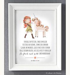 Liebevoll designter Kunstdruck im **DIN A4 Format** auf hochwertigem Künstler-Strukturpapier mit Mädchen und Einhorn Motiv und Statement ♥ **Springe in Pfützen, tanze im Regen...** ♥ mit...