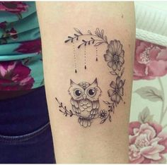50 of the Most Beautiful Owl Tattoo Designs and Their Meaning for the Nocturnal Animal in You - KickAss Things Baby Owl Tattoos, Cute Owl Tattoo, Cute Animal Tattoos, Mini Tattoos, Trendy Tattoos, Popular Tattoos, Cute Tattoos, Small Tattoos, Tattoos For Women
