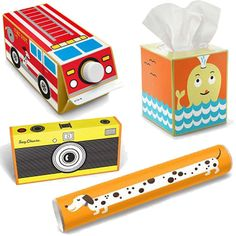 Stickers that turn milk cartons, tissue boxes and more into toys. Reduce, reuse, recycle, retro cute!