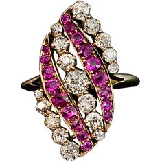 Pre-owned Antique Russian Belle Epoque Pink Sapphire Diamond Swirl... ($8,900) ❤ liked on Polyvore