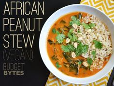 Bursting with both flavor and nutrients, this vegan African Peanut Stew is unique and filling. Top with a splash of sriracha and a scoop of brown rice. - BudgetBytes.com