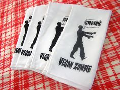 Vegan Zombie Napkins Zombie gift set cloth napkin by MoxieMadness Zombie Gifts or Zombie presents for that hard to shop for Undead in your life